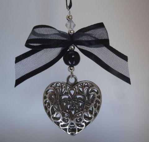 Silver Tone Tibetan Heart,  Black Pearl Bead, Bow & Crystal - Xmas Tree Decoration